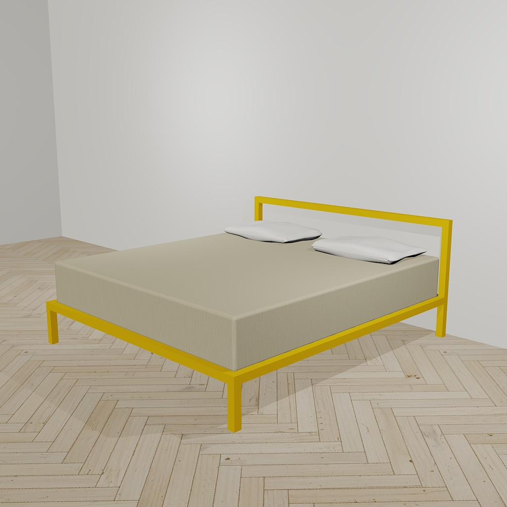 Minimal bed in orange color